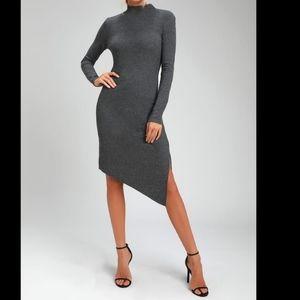 Lulu's Fernley Ribbed Long Sleeve Midi Dress